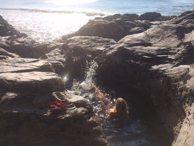 Bathing in the rock pools